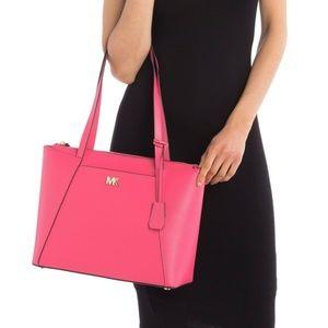 Michael Kors Maddie Rose Pink Leather Tote Bag